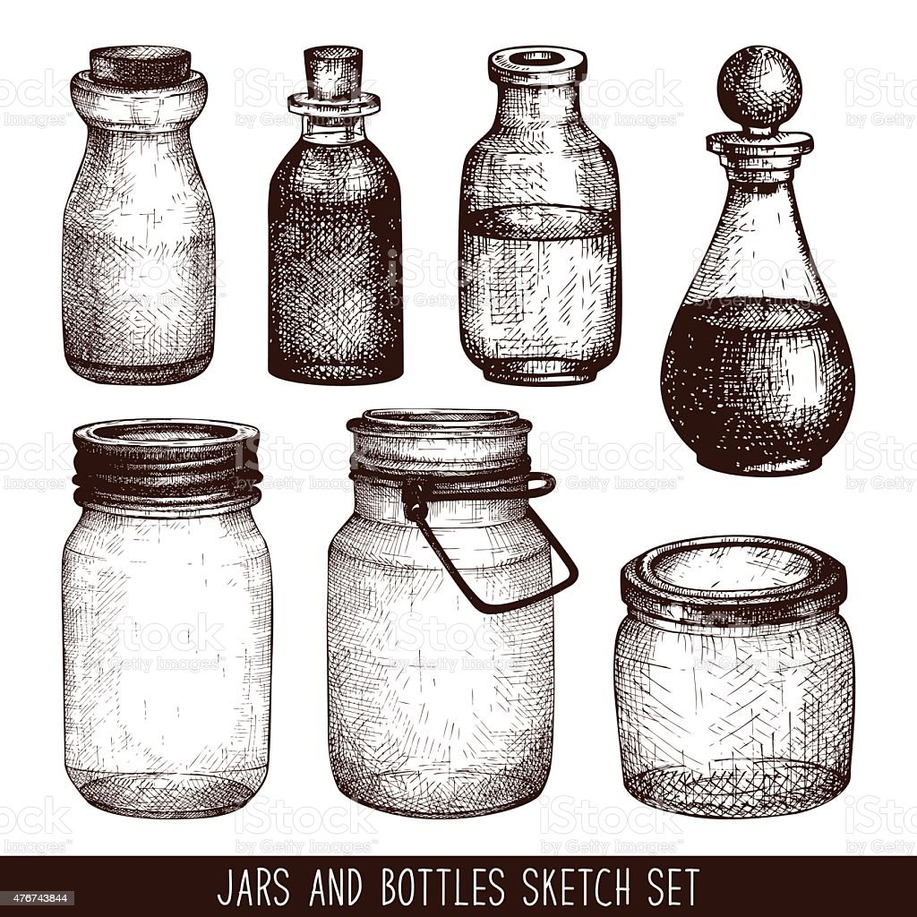 Vintage decorative glass canning jars isolated on white. vector art illustration