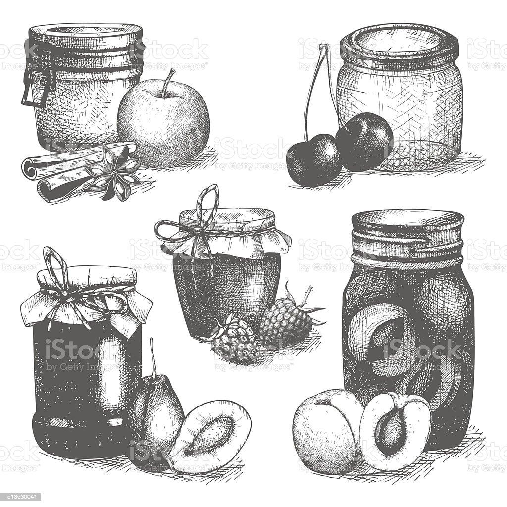Vintage decorative glass mason or canning jars vector art illustration