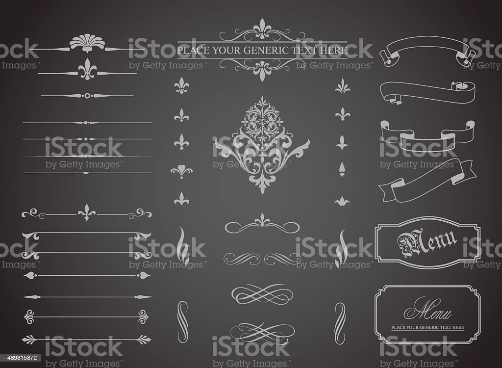 Vintage Decorative Ornament Borders and Page Dividers vector art illustration