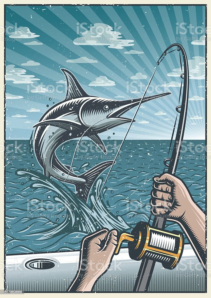 Vintage deep sea fishing poster vector art illustration