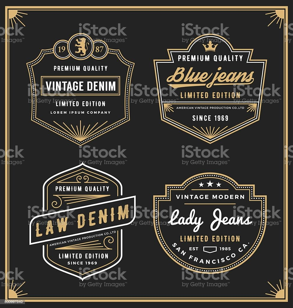 Vintage denim jeans frame icon for your business. vector art illustration