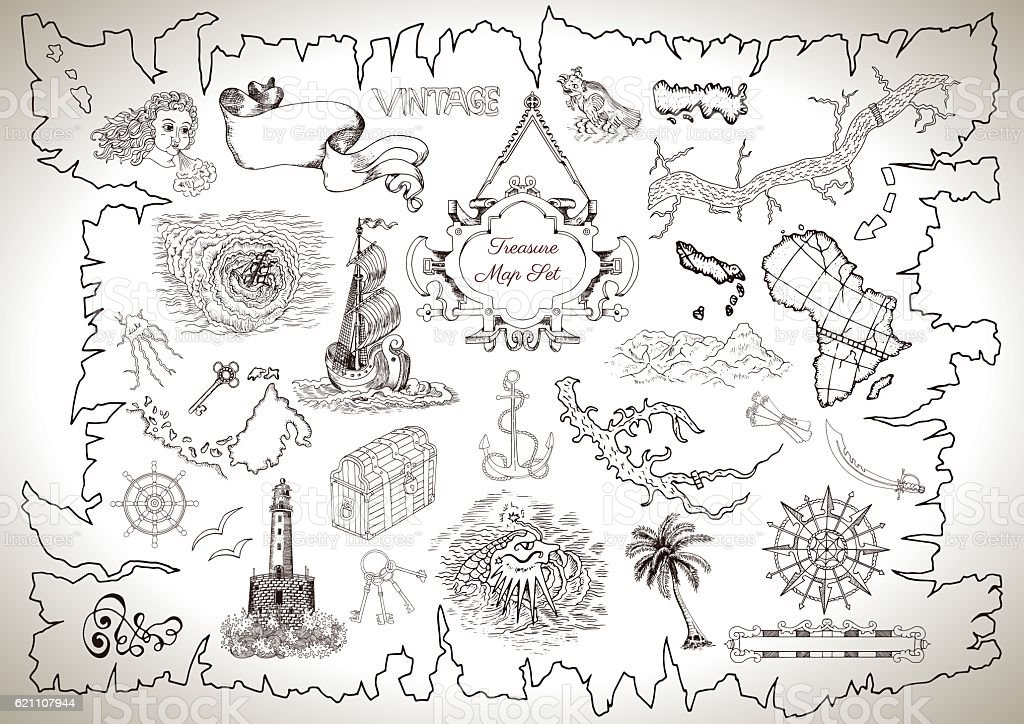 Vintage design collection for treasure or pirate map vector art illustration