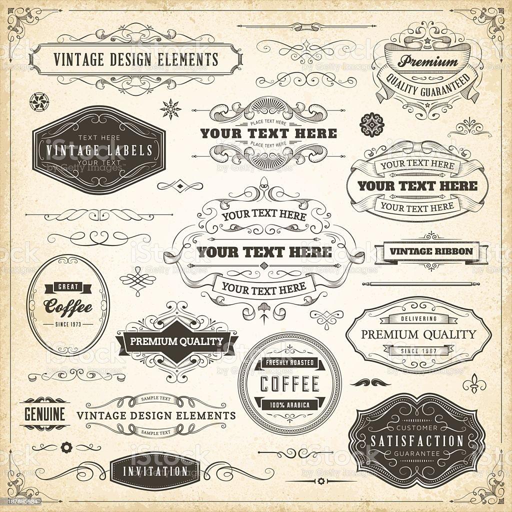 Vintage design elements in black on a beige background vector art illustration