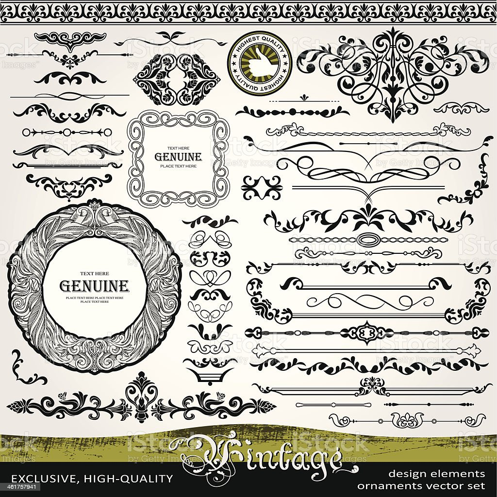 Vintage design elements, ornaments and dividers, page decorations vector art illustration