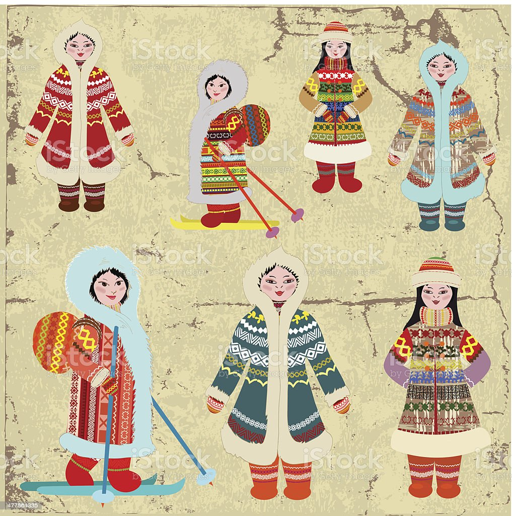 Vintage design with Eskimo women vector art illustration