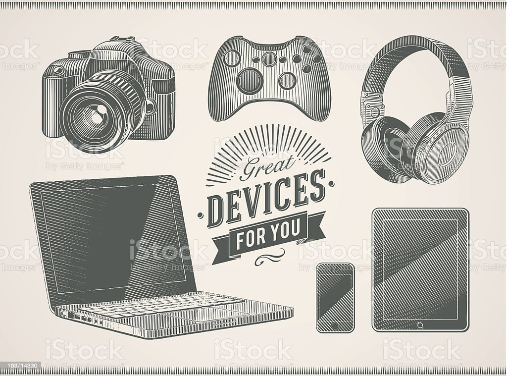 Vintage devices royalty-free stock vector art