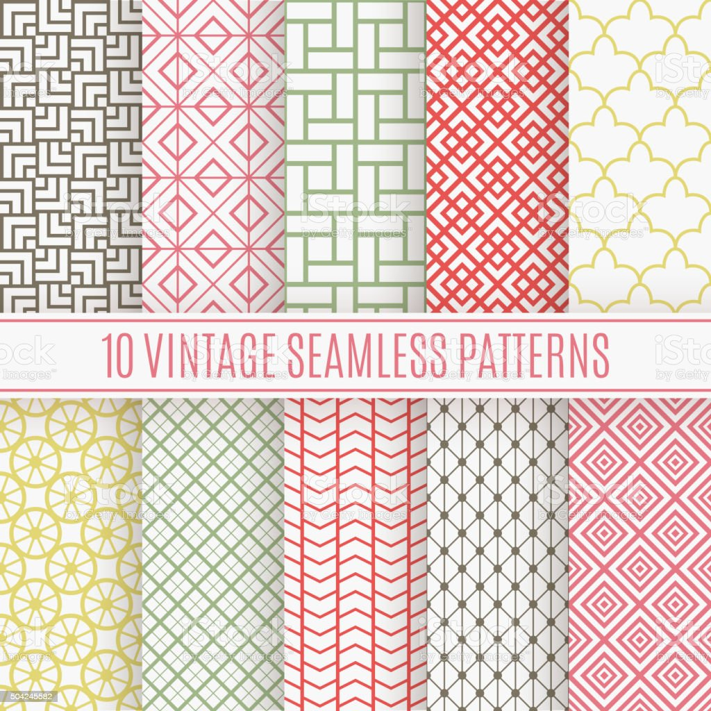 Vintage different vector seamless patterns vector art illustration