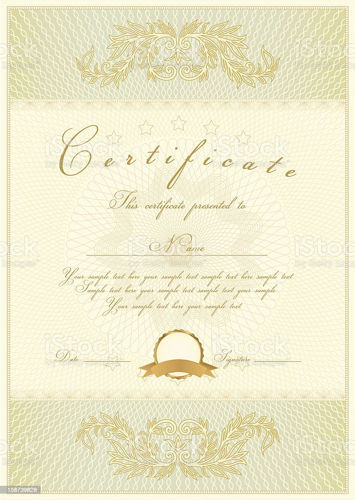 Vintage diploma / certificate of completion (template) with gold border royalty-free stock vector art