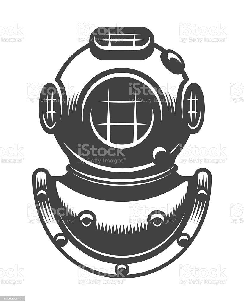 Vintage diving helmet vector art illustration