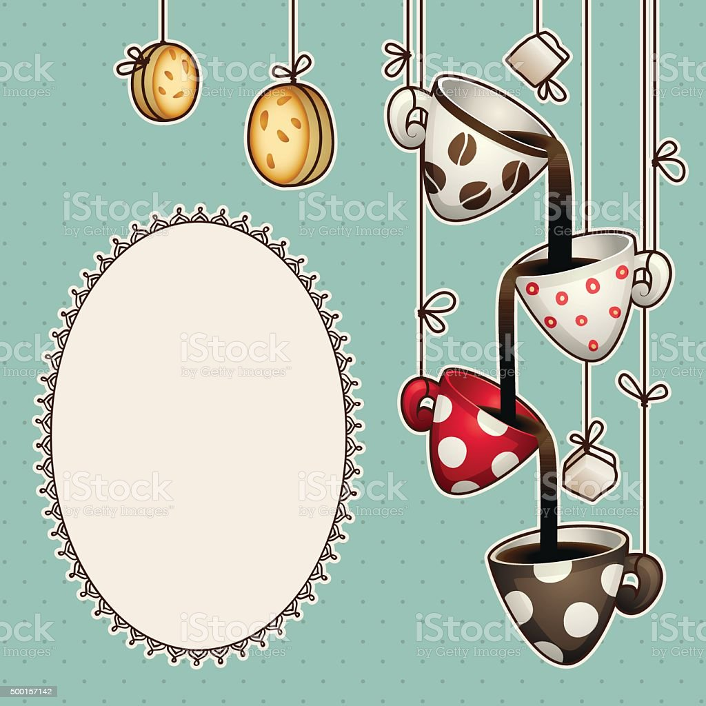 Vintage doodle coffee chocolate cups, cookies and sugar. Vector illustration vector art illustration