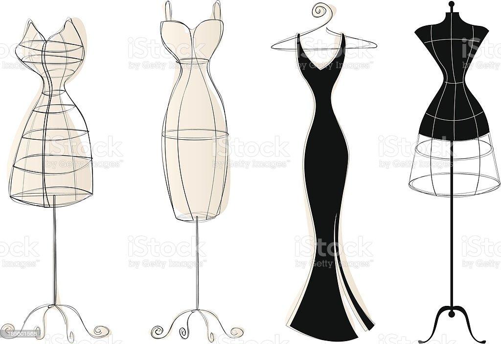 Vintage Dress Forms vector art illustration