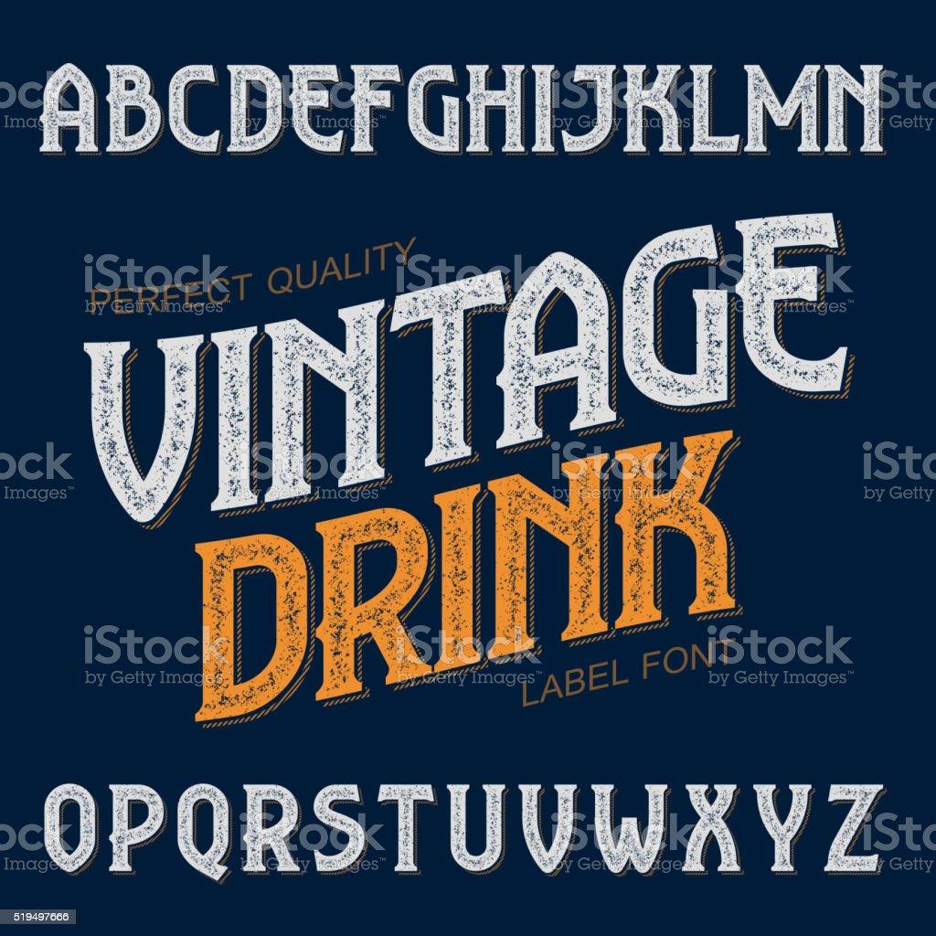 Vintage drink label font vector art illustration