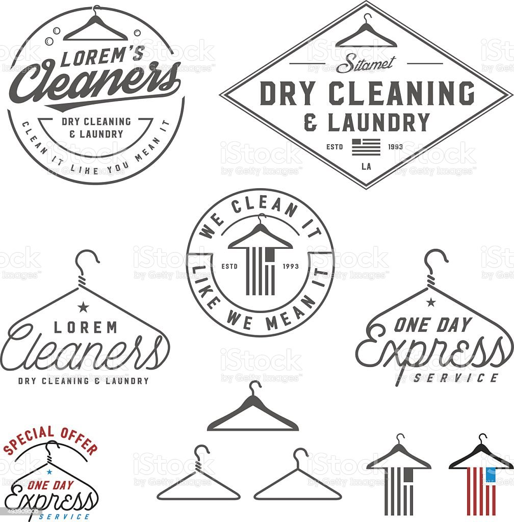 Vintage dry cleaning emblems, labels and design elements vector art illustration