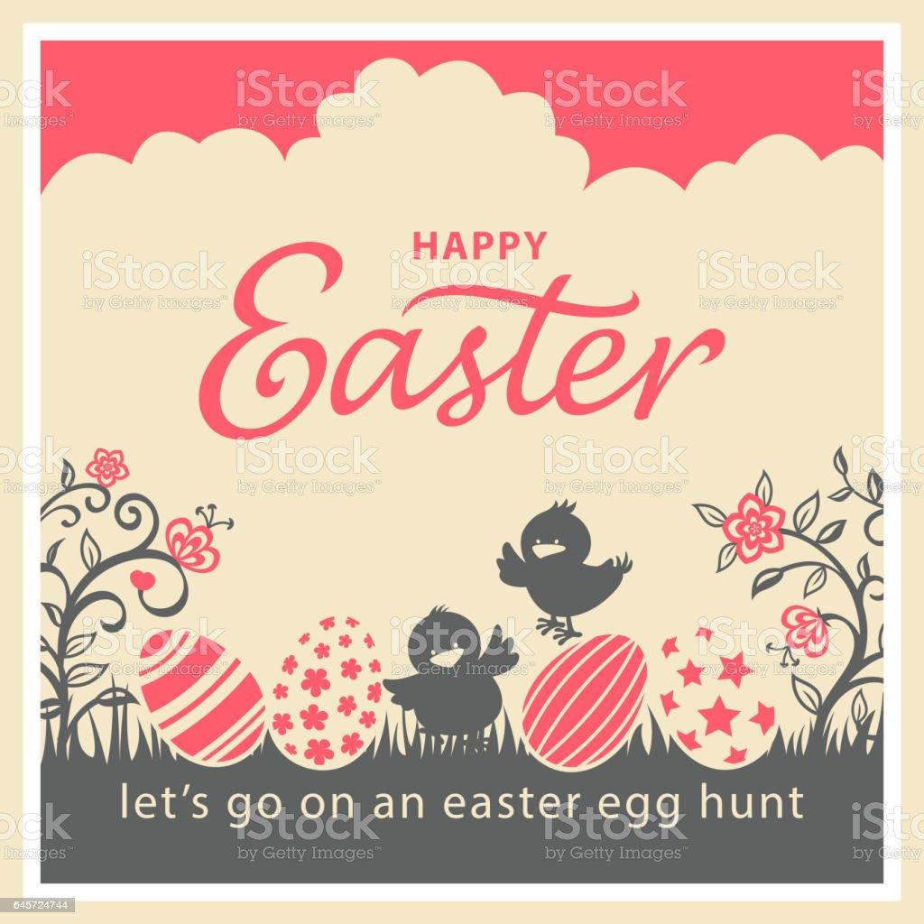 Vintage Easter Chicks & Eggs Card vector art illustration