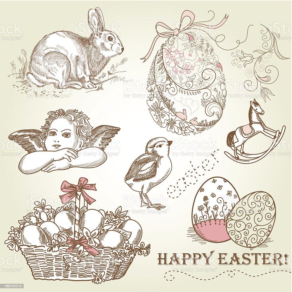 Vintage Easter Set royalty-free stock vector art