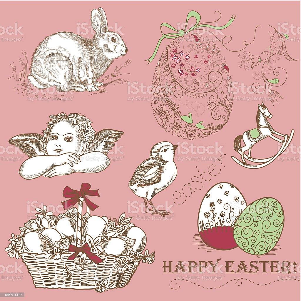 Vintage Easter Set royalty-free stock vector art