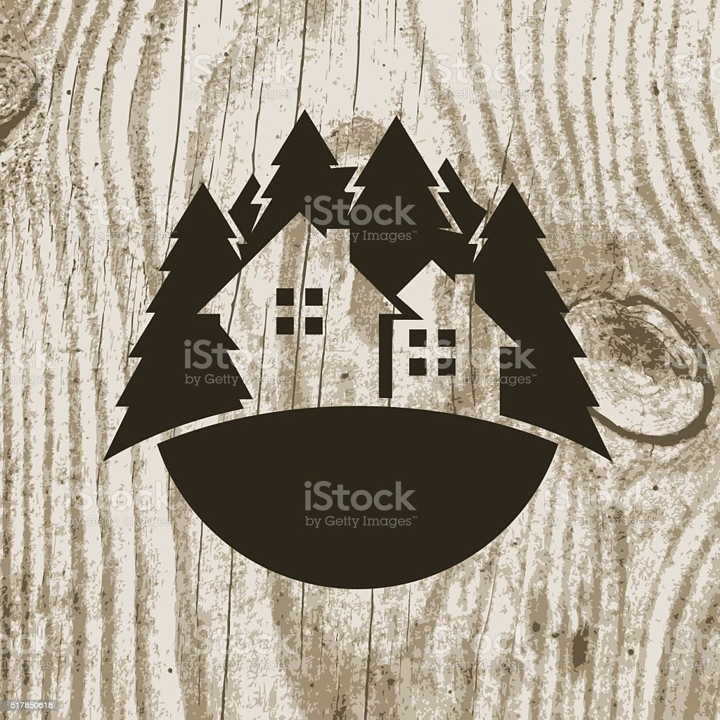 Vintage eco house badge with tree on wooden texture background. vector art illustration