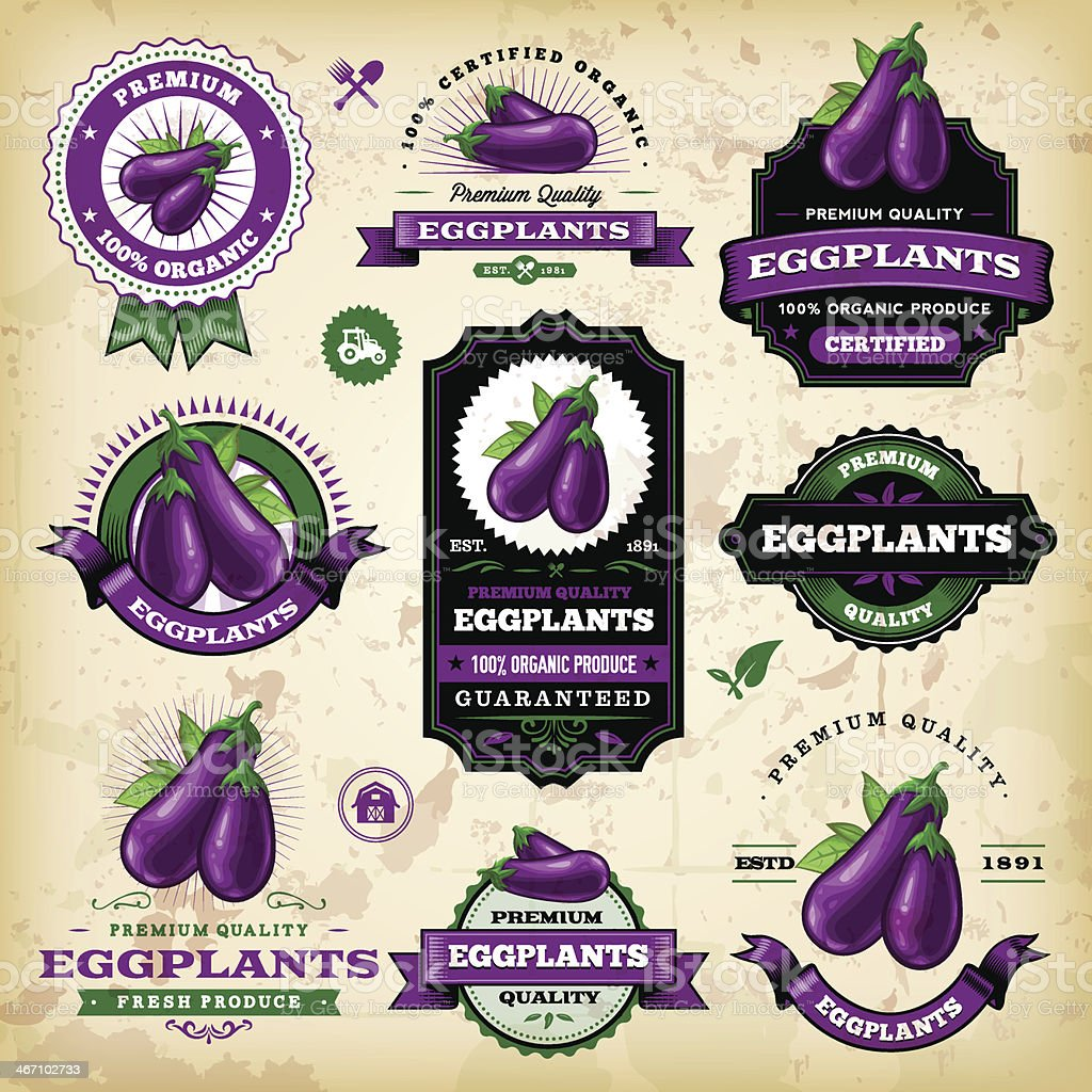 Vintage Eggplant Labels vector art illustration