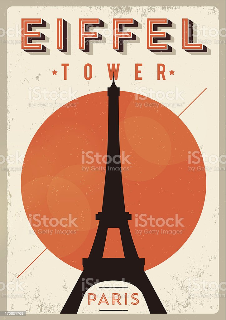 Vintage Eiffel Tower Poster vector art illustration