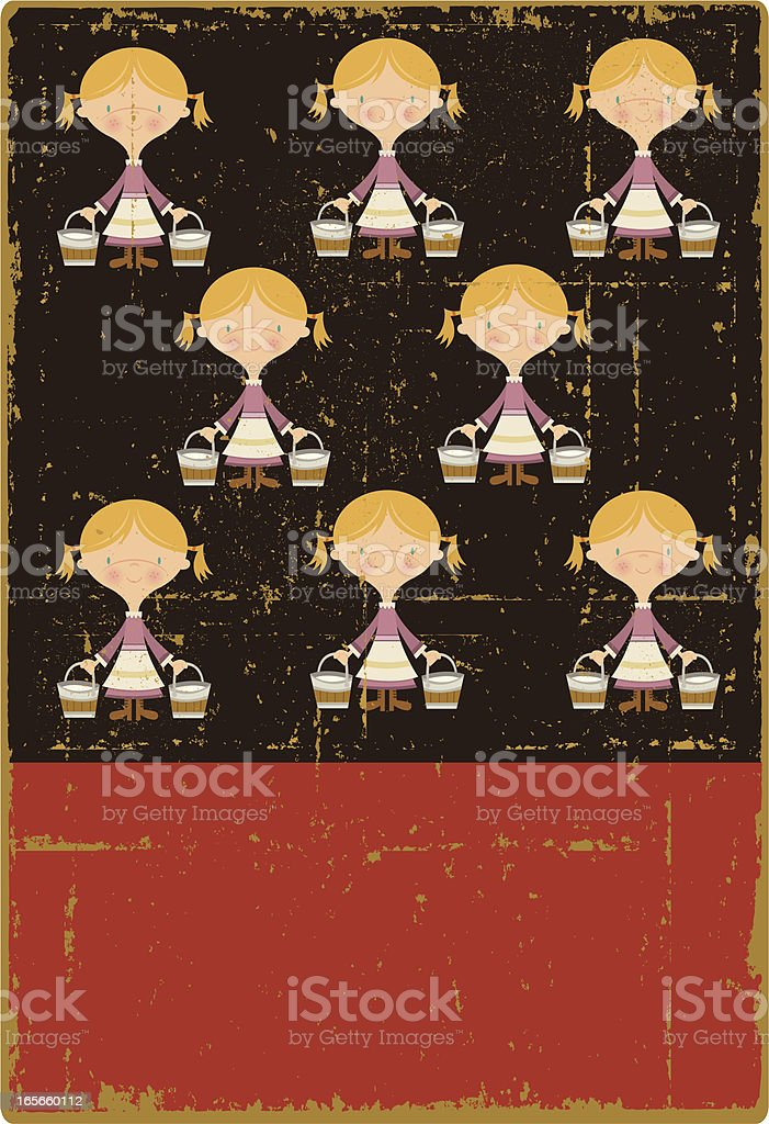Vintage Eight Maids a Milking royalty-free stock vector art
