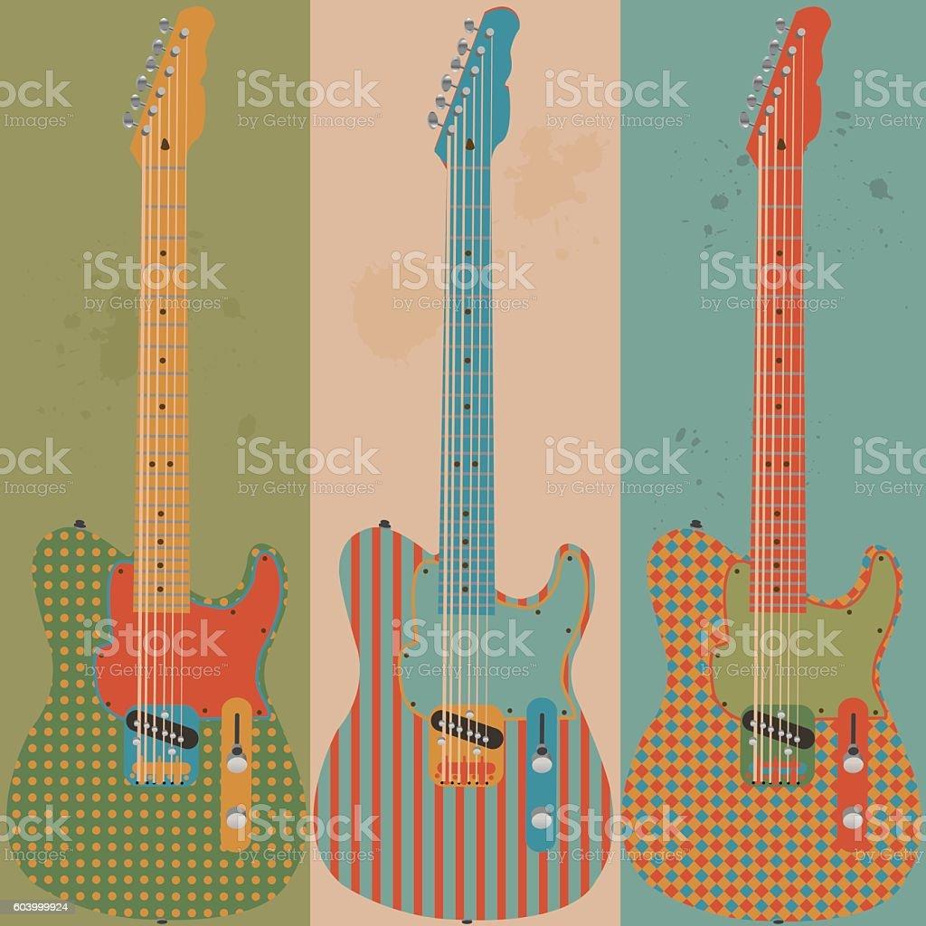 Vintage electric guitars vector art illustration
