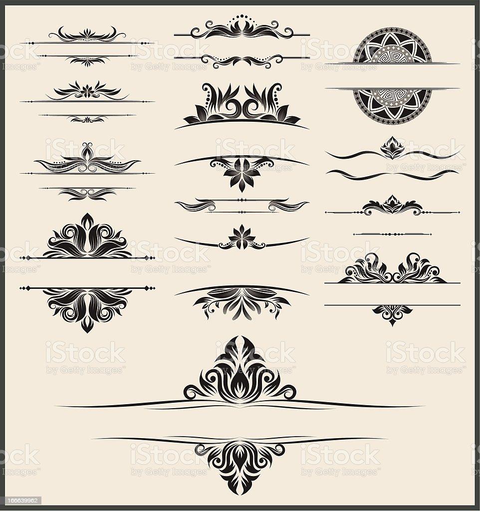 Vintage element and border set vector art illustration