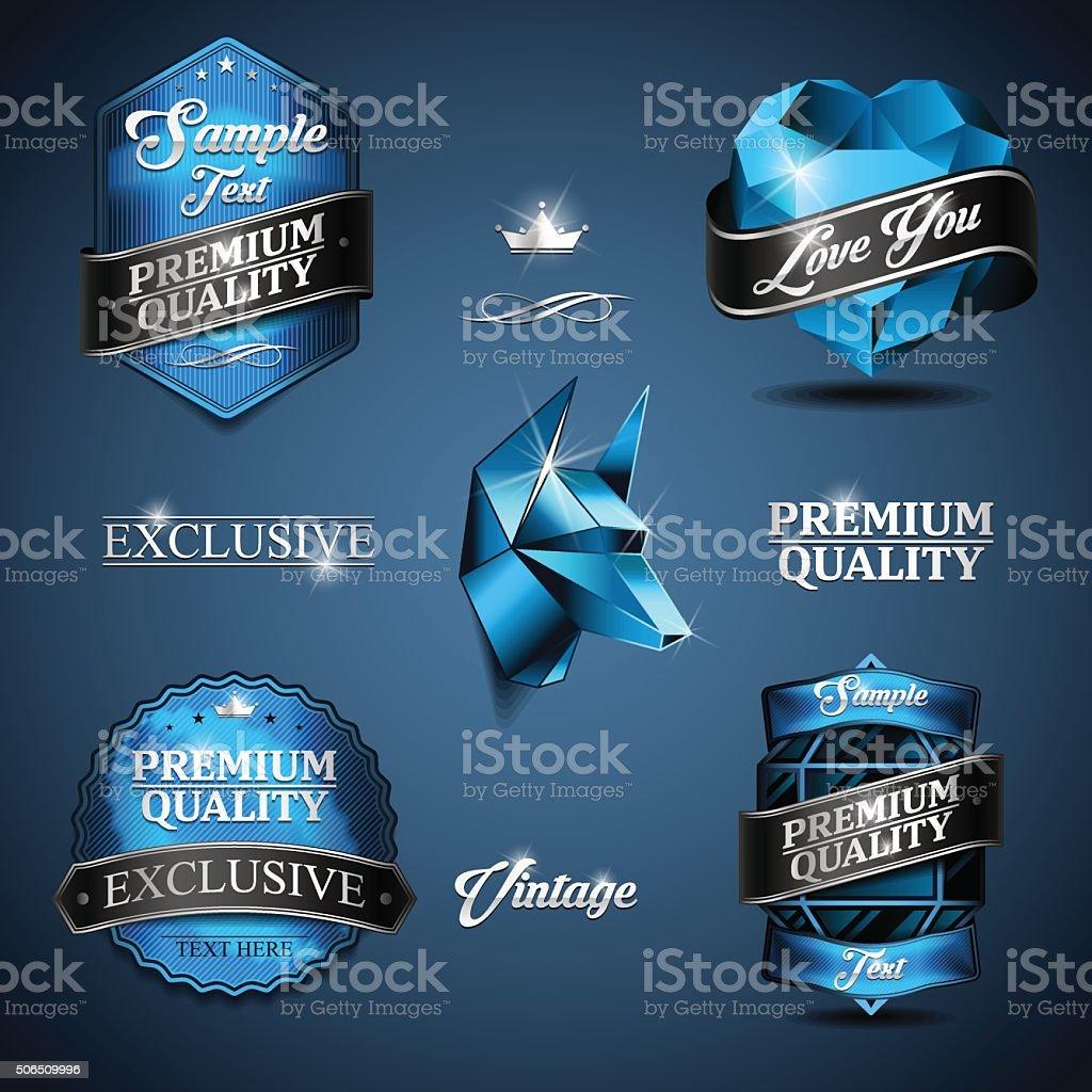 vintage emblem blue vector art illustration