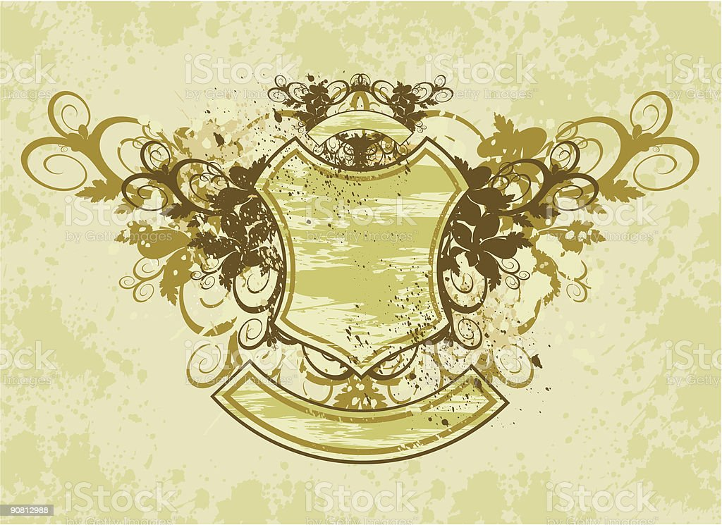 vintage emblem - flowers ornament on grunge background royalty-free stock vector art