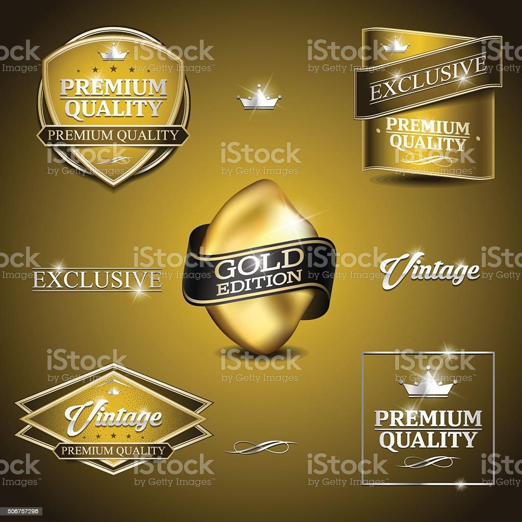 vintage emblem gold vector art illustration