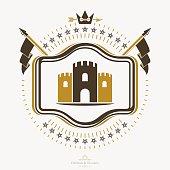 Vintage emblem with a tower illustration, vector heraldic design.