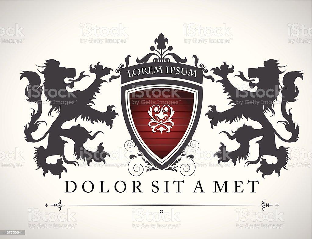 Vintage emblem with lions vector art illustration