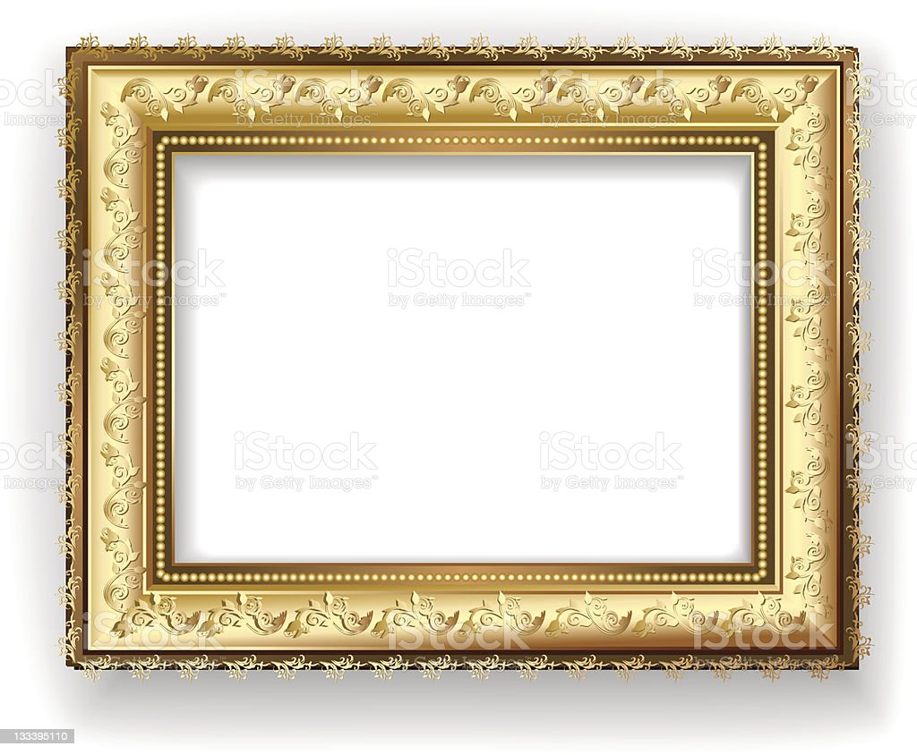Vintage empty golden frame on white royalty-free stock vector art