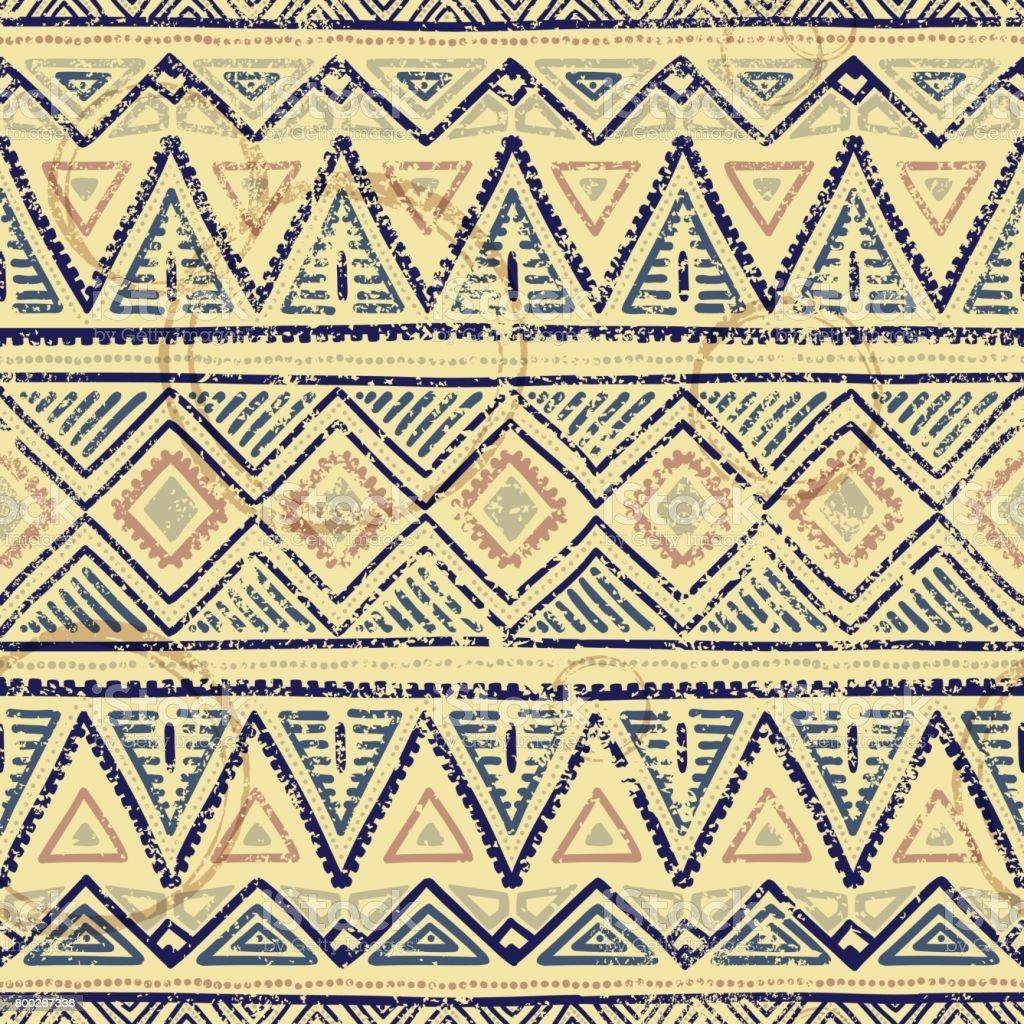 Vintage ethnic seamless print. Grunge texture. vector art illustration