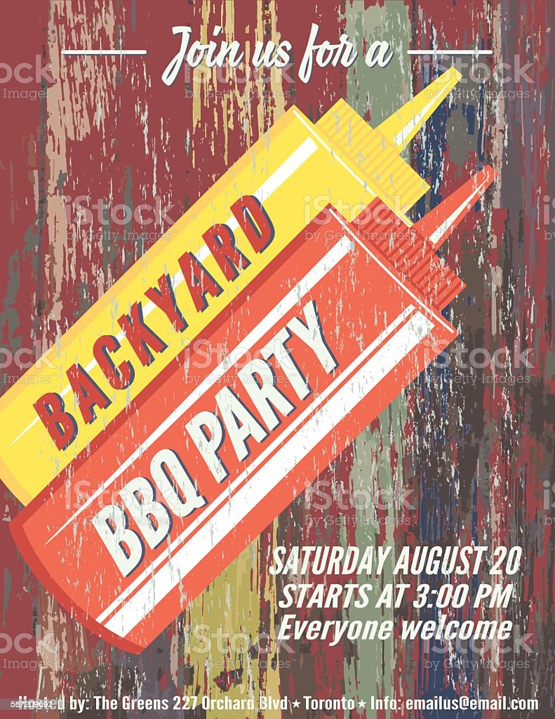 Vintage Faded BBQ Party Template Sign - Wood Background vector art illustration