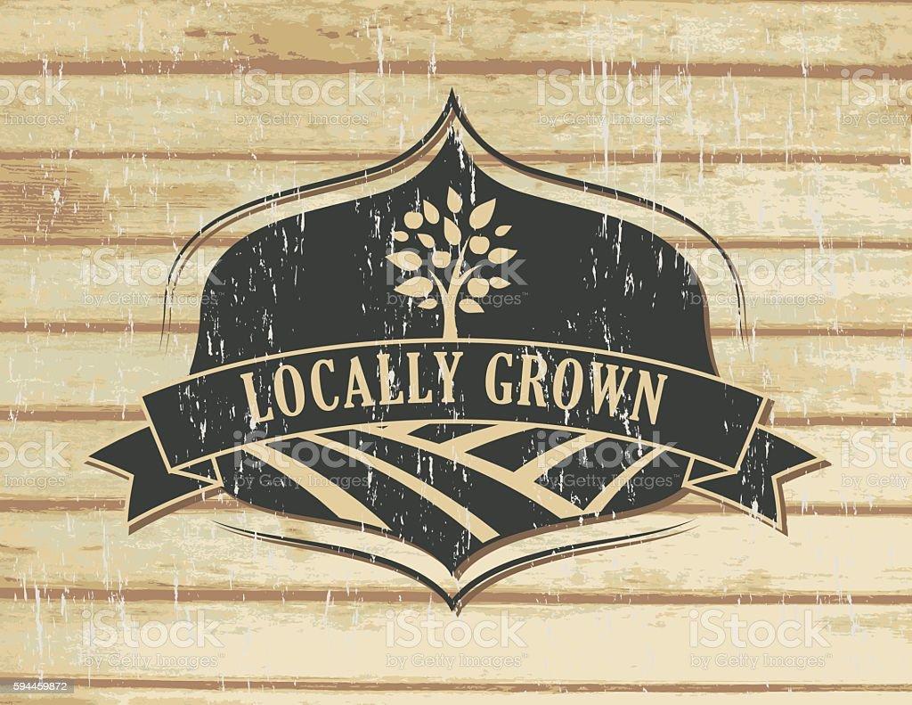 Vintage Faded Farm Sign On Wood Background vector art illustration