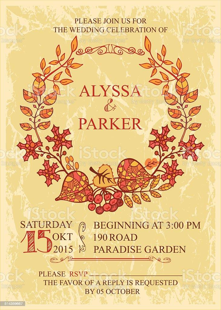 Vintage fall wedding invitation with leaves wreath vector art illustration
