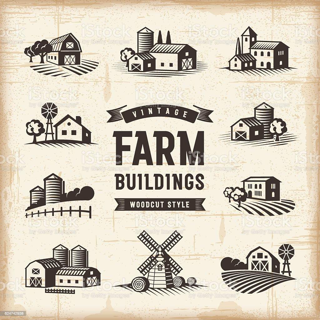 Vintage Farm Buildings Set vector art illustration