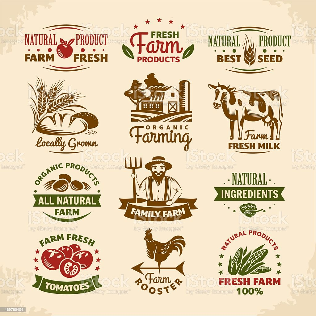 Vintage farm labels vector art illustration