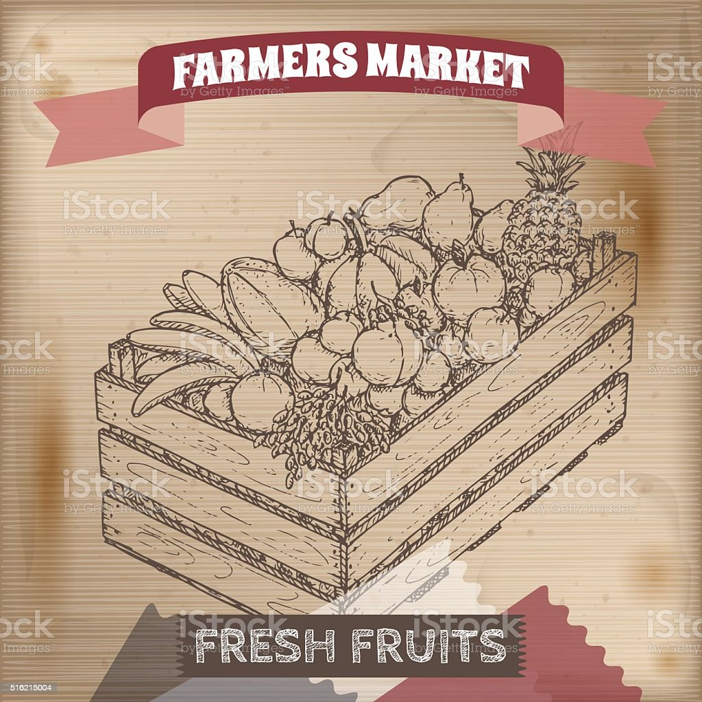 Vintage farmers market label with fruits in wooden crate. vector art illustration