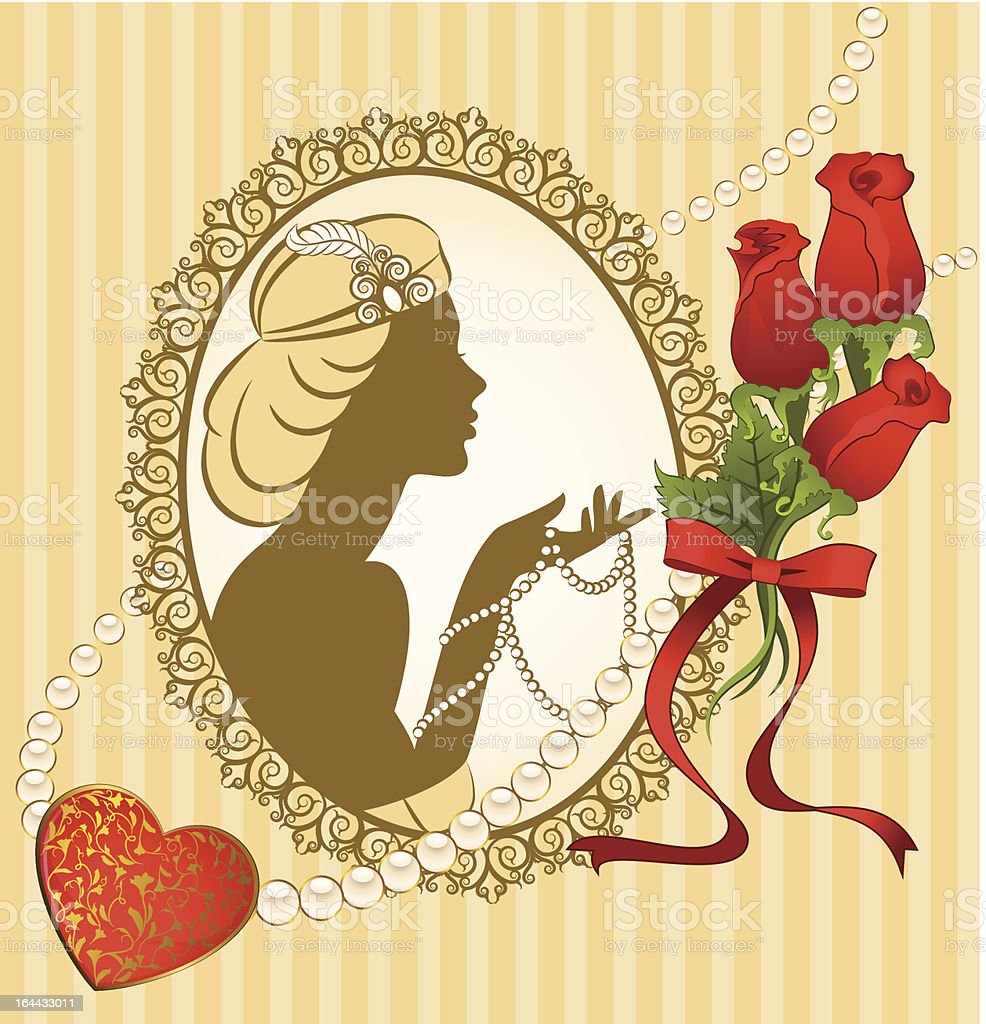 Vintage fashion girl with beads and flowers. Vector royalty-free stock vector art