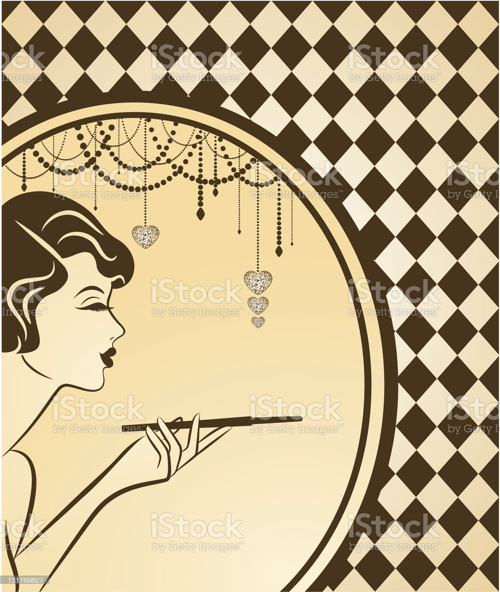 Vintage fashion girl with cannon-bit. Vector royalty-free stock vector art