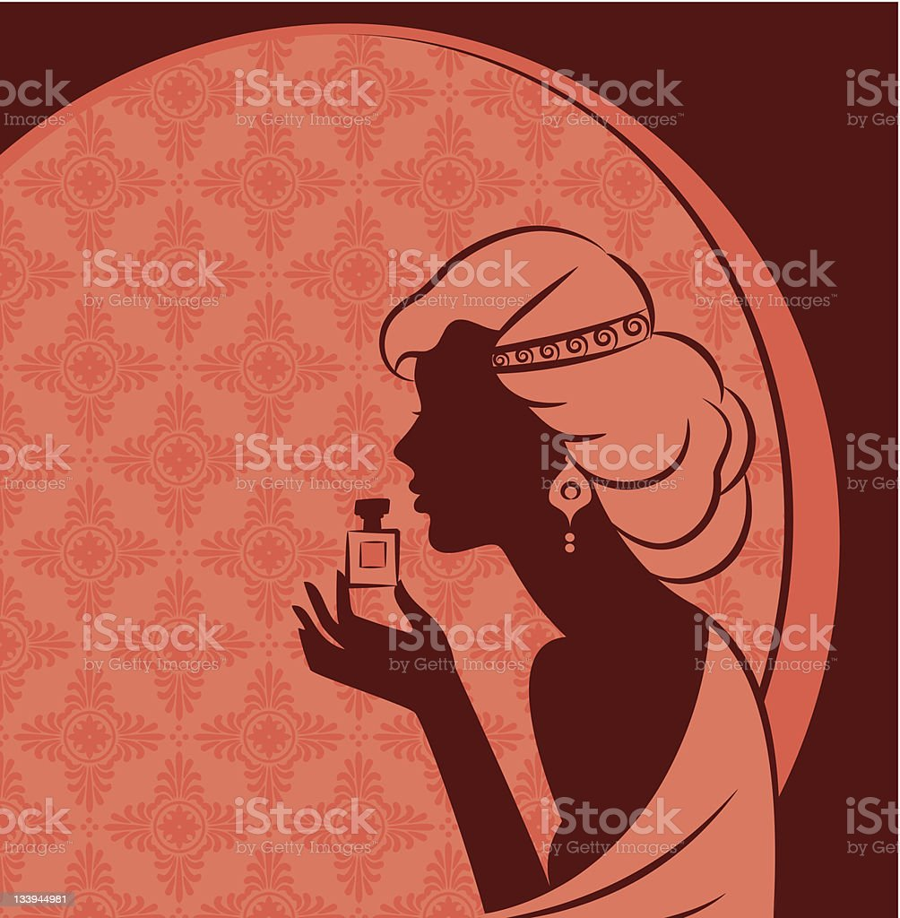 Vintage fashion girl with perfume. Vector royalty-free stock vector art