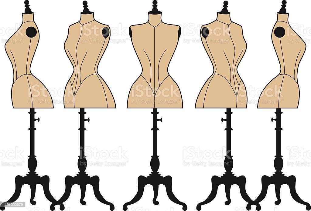 vintage fashion mannequins, vector set vector art illustration