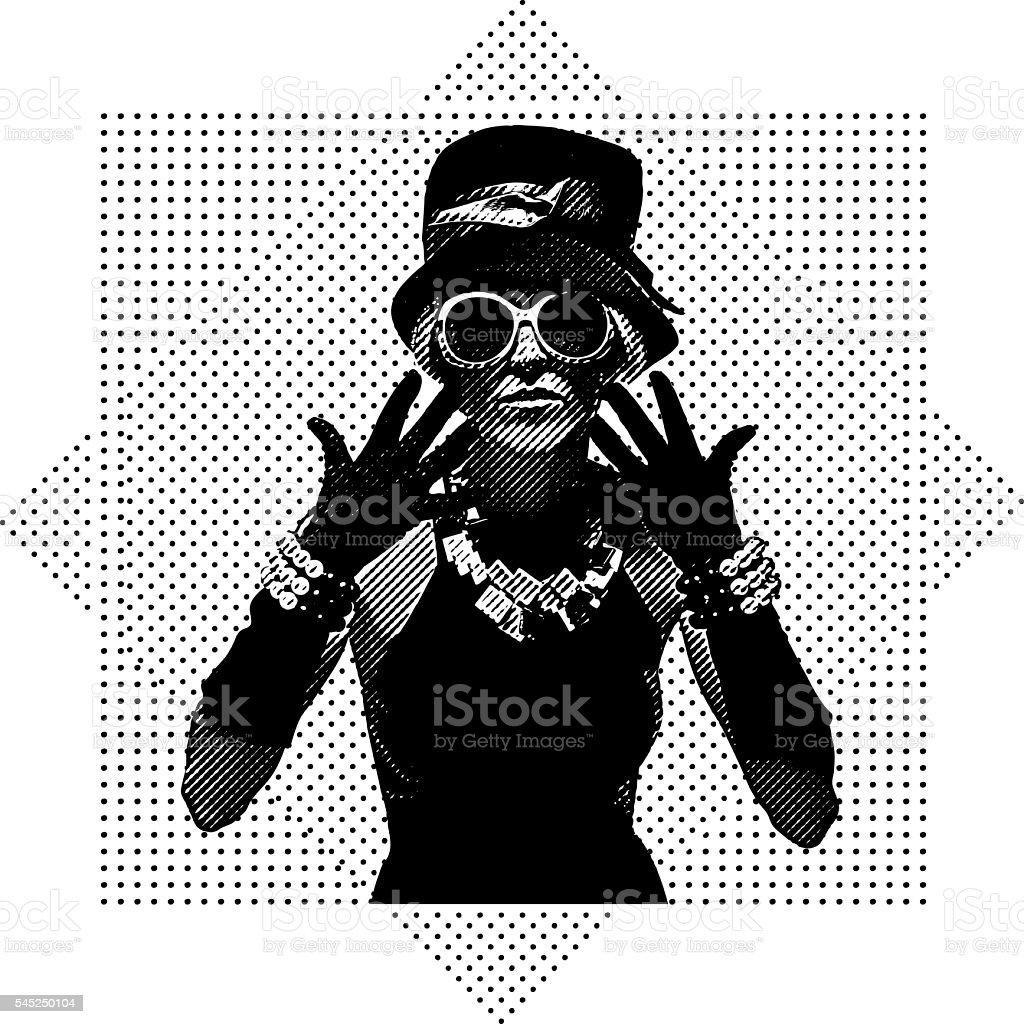 Vintage fashion model dressed for clubbing vector art illustration