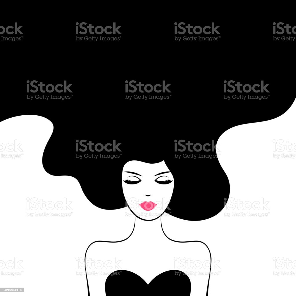 Vintage Fashion Woman with Long Hair vector art illustration
