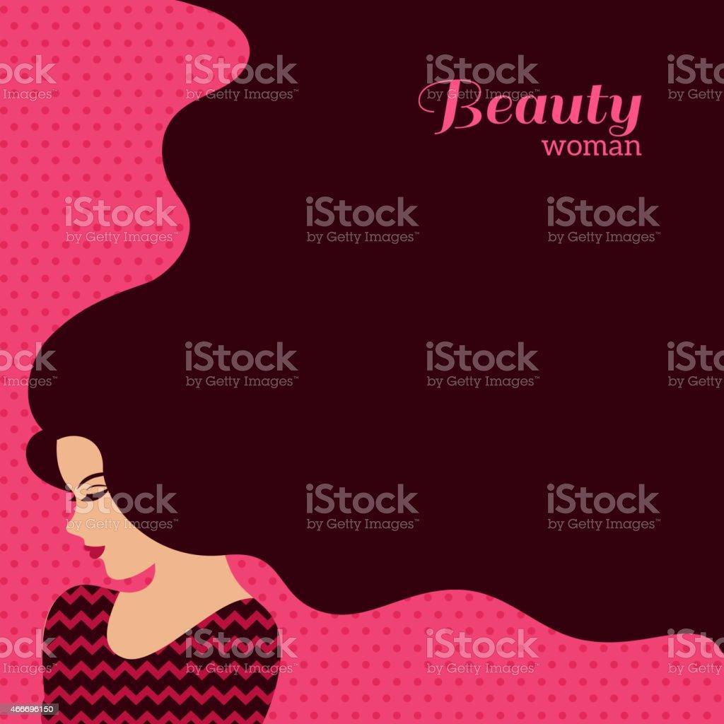 Vintage Fashion Woman with Long Hair. Vector Illustration vector art illustration