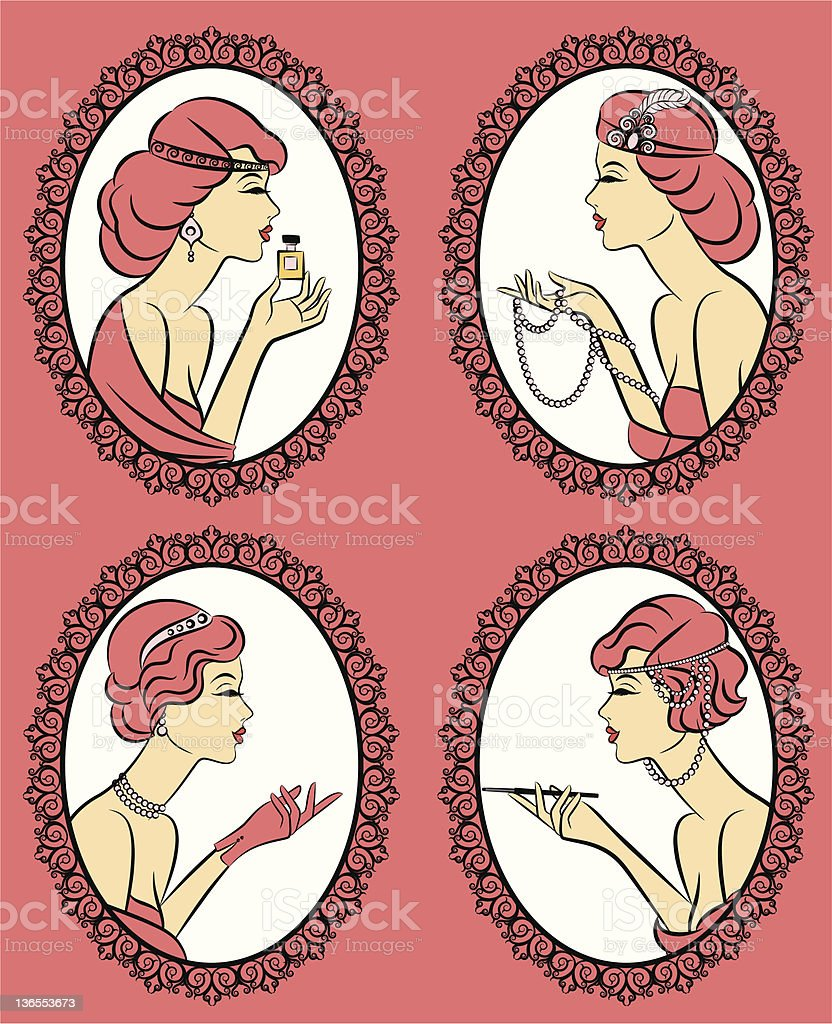 Vintage fashion women with cannon-bit and perfume,beads. Vector set royalty-free stock vector art