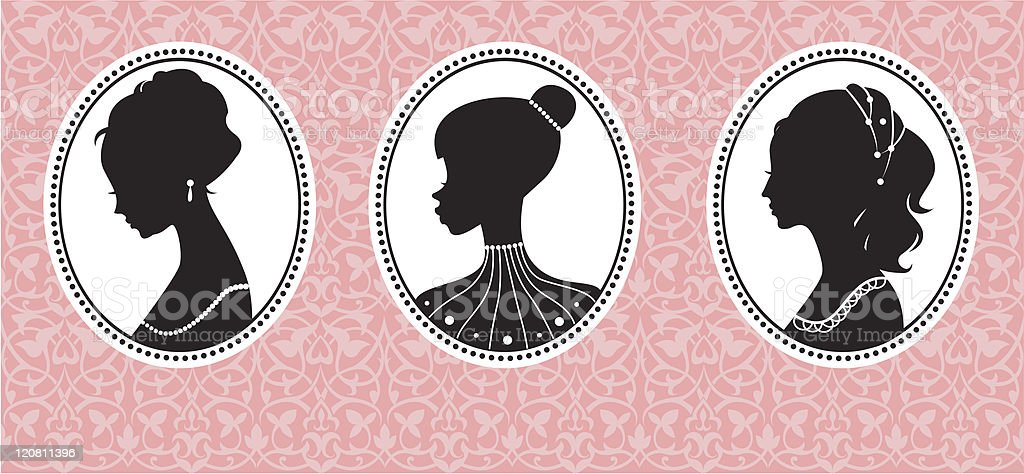 Vintage female silhouettes royalty-free stock vector art