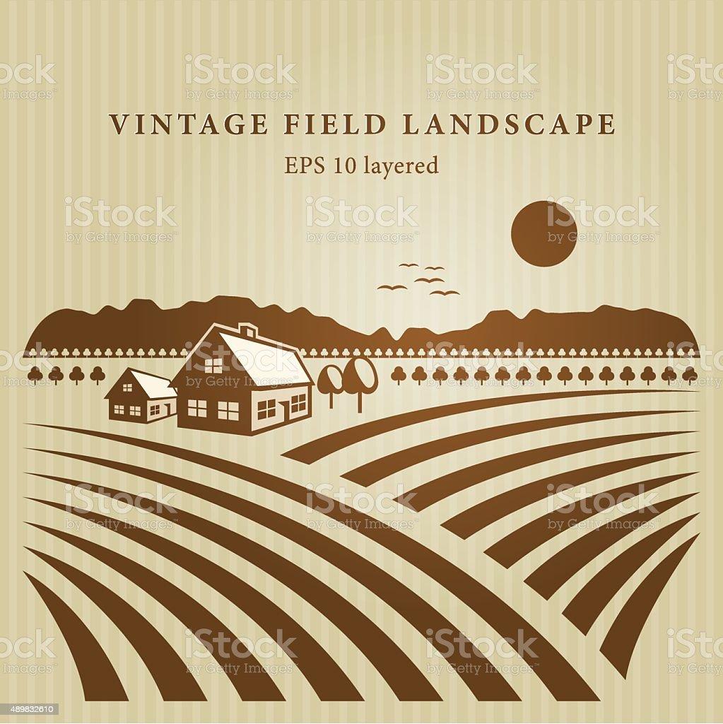 Vintage field landscape vector art illustration