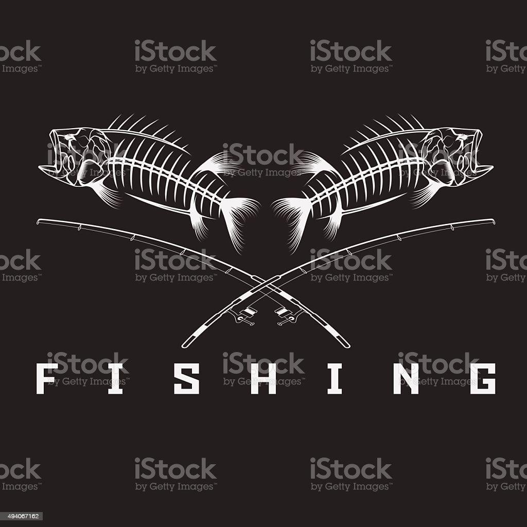 vintage fishing emblem with skeleton of bass vector art illustration